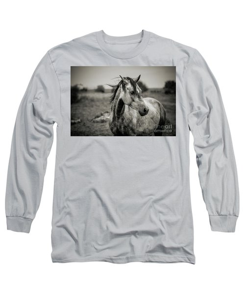 A Horse In Profile In Black And White Long Sleeve T-Shirt