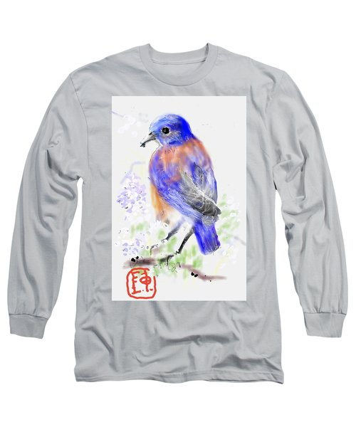 A Little Bird In Blue Long Sleeve T-Shirt