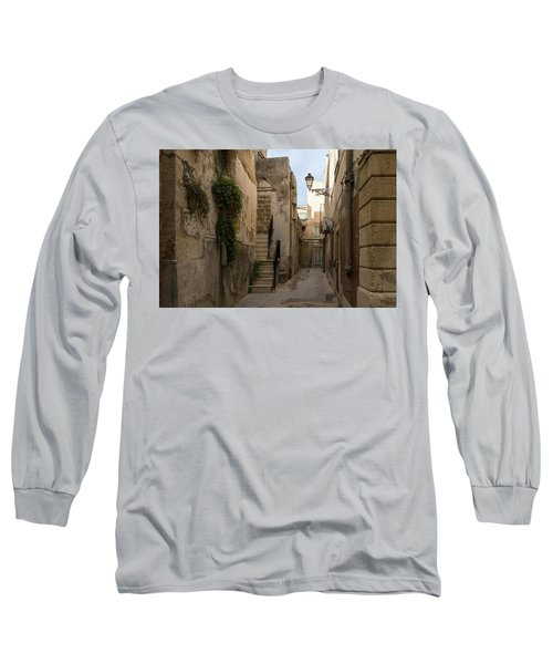 A Marble Staircase To Nowhere - Tiny Italian Lane In Syracuse Sicily Long Sleeve T-Shirt