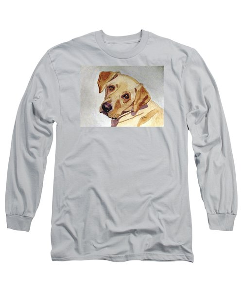 Long Sleeve T-Shirt featuring the painting A Mellow Yellow by Angela Davies