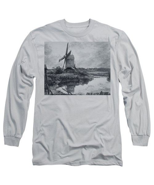 A Mill On The Banks Of The River Stour Charcoal On Paper Long Sleeve T-Shirt