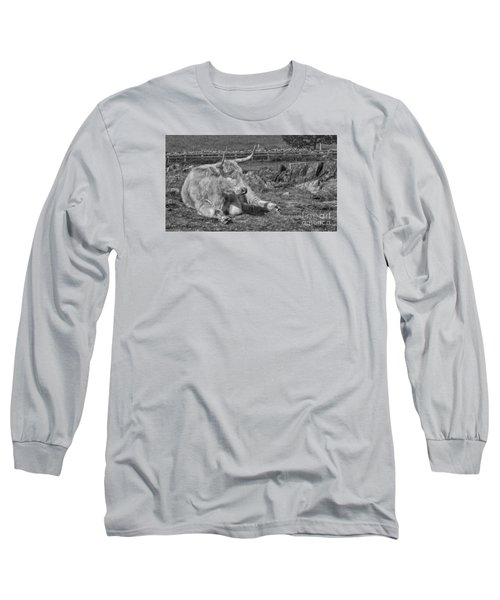 Long Sleeve T-Shirt featuring the photograph A Resting Highlander by Linsey Williams