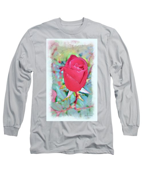 Long Sleeve T-Shirt featuring the photograph A Single Rose In October by Joan  Minchak