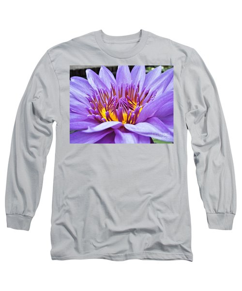 A Sliken Purple Water Lily Long Sleeve T-Shirt