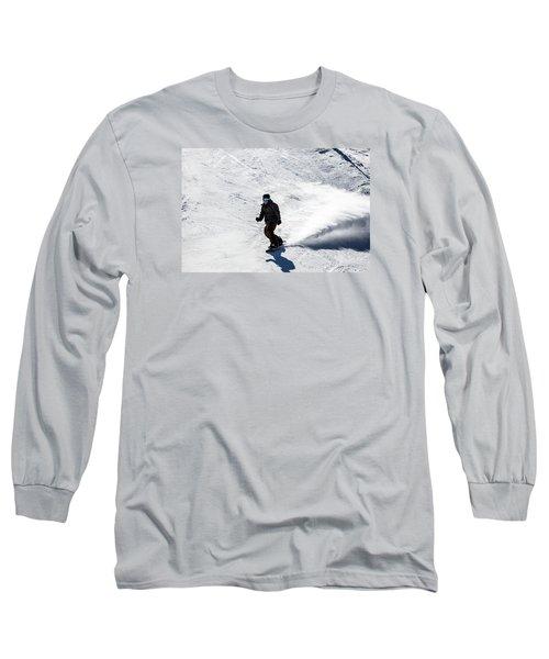 A Snowboarder Descends Aspen Mountain Long Sleeve T-Shirt by Carol M Highsmith