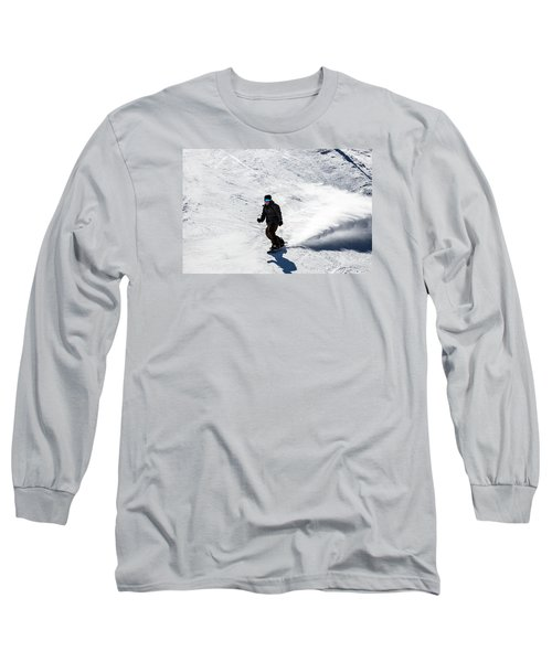 A Snowboarder Descends Aspen Mountain Long Sleeve T-Shirt