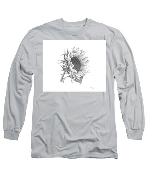 Long Sleeve T-Shirt featuring the drawing A Sunflowers Beauty by Patricia Hiltz