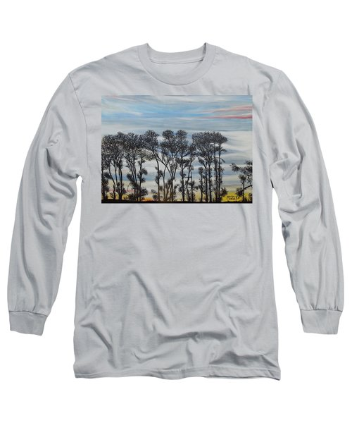 Long Sleeve T-Shirt featuring the painting A Treeline Silhouette by Marilyn  McNish