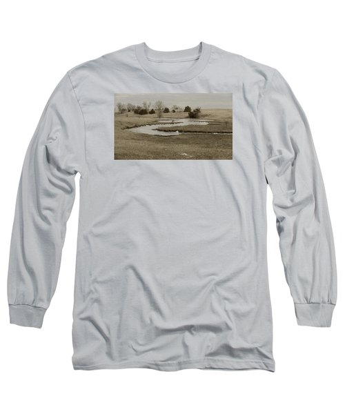 A Winding Creek In Winter As Geese Fly Overhead Long Sleeve T-Shirt