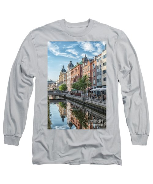 Long Sleeve T-Shirt featuring the photograph Aarhus Afternoon Canal Scene by Antony McAulay