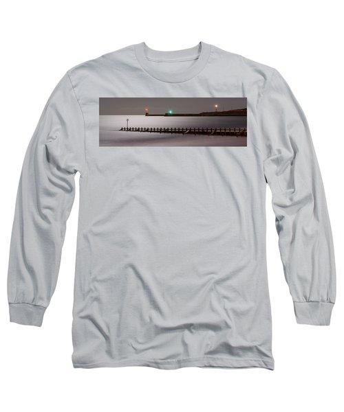 Aberdeen Beach At Night _ Pano Long Sleeve T-Shirt