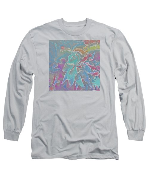 Long Sleeve T-Shirt featuring the painting Abstract Art Fun Flower By Sherriofpalmspring by Sherri  Of Palm Springs
