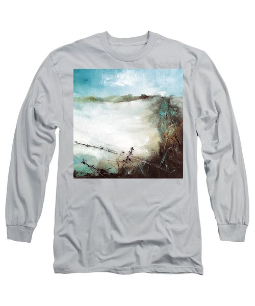 Abstract Barbwire Pasture Landscape Long Sleeve T-Shirt by Michele Carter