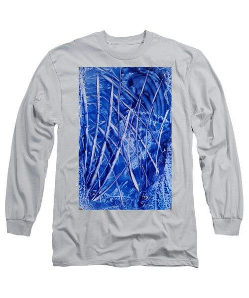 Abstract Blues Encaustic Long Sleeve T-Shirt