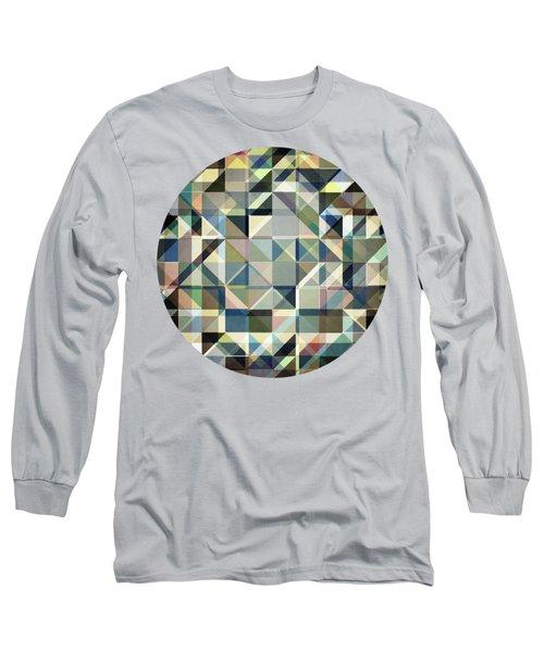 Abstract Earth Tone Grid Long Sleeve T-Shirt