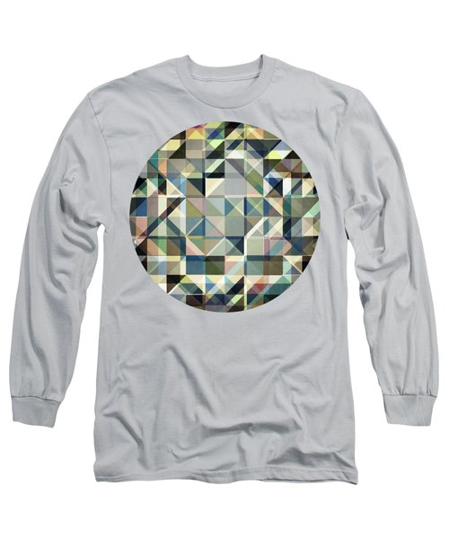 Abstract Earth Tone Grid Long Sleeve T-Shirt