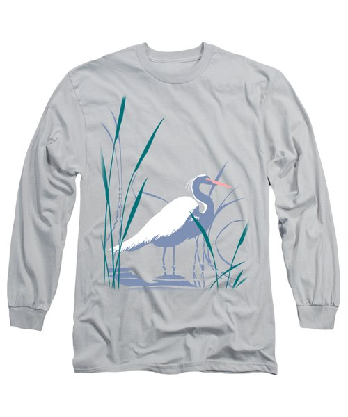 abstract Egret graphic pop art nouveau 1980s stylized retro tropical florida bird print blue gray  Long Sleeve T-Shirt by Walt Curlee