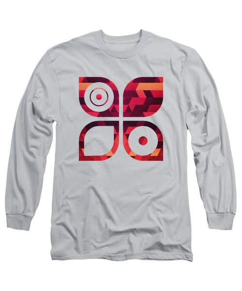Abstract  Geometric Triangle Texture Pattern Design In Diabolic Future Red Long Sleeve T-Shirt