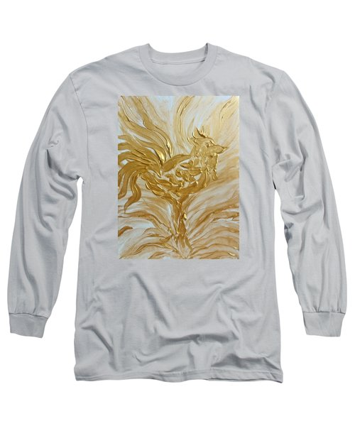 Abstract Golden Rooster Long Sleeve T-Shirt