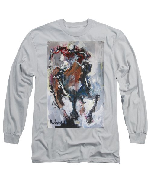 Long Sleeve T-Shirt featuring the painting Abstract Horse Racing Painting by Robert Joyner