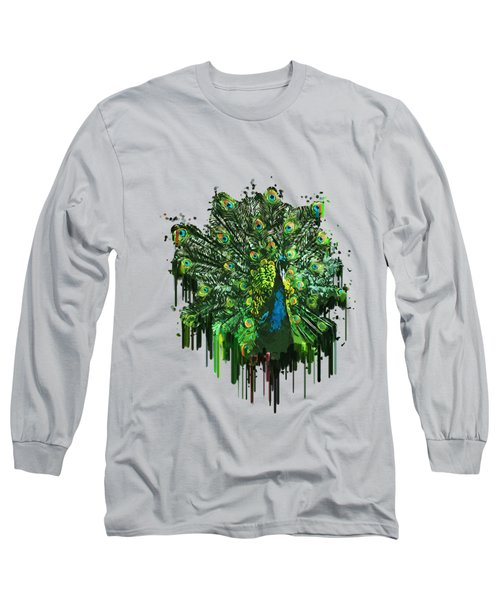 Abstract Peacock Acrylic Digital Painting Long Sleeve T-Shirt by Georgeta Blanaru