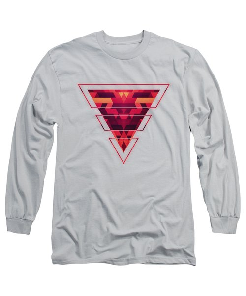 Abstract Red Geometric Triangle Texture Pattern Design Digital Futrure  Hipster  Fashion Long Sleeve T-Shirt