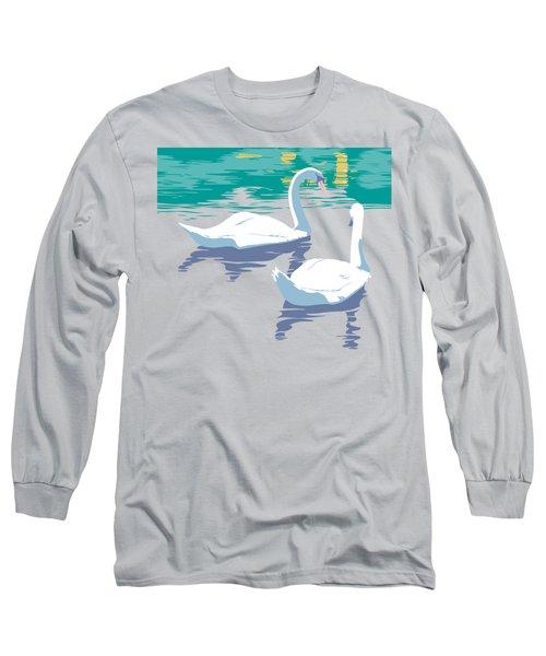 Abstract Swans Bird Lake Pop Art Nouveau Retro 80s 1980s Landscape Stylized Large Painting  Long Sleeve T-Shirt