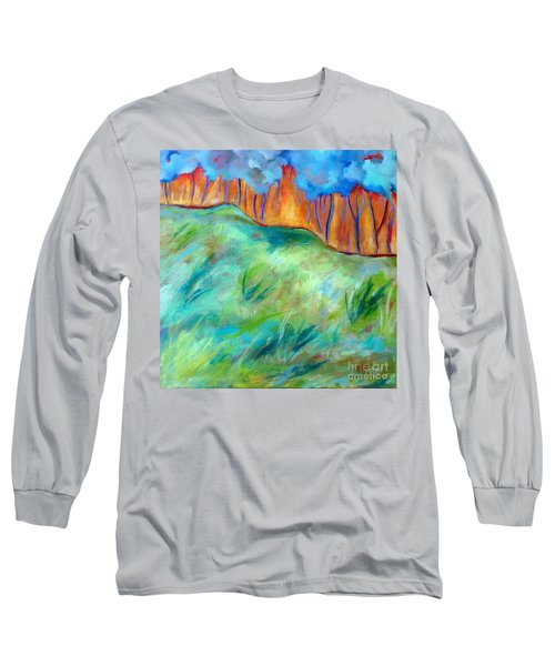 Across The Meadow Long Sleeve T-Shirt by Elizabeth Fontaine-Barr
