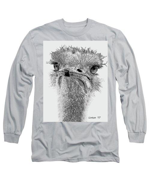 African Ostrich Sketch Long Sleeve T-Shirt