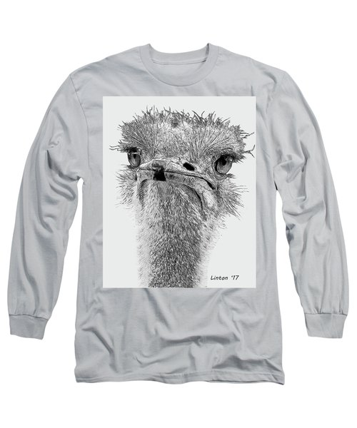 African Ostrich Sketch Long Sleeve T-Shirt
