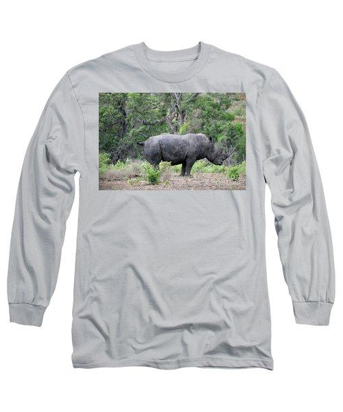 African Safari Naughty Rhino Long Sleeve T-Shirt by Eva Kaufman