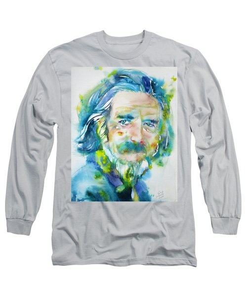 Long Sleeve T-Shirt featuring the painting Alan Watts - Watercolor Portrait.4 by Fabrizio Cassetta