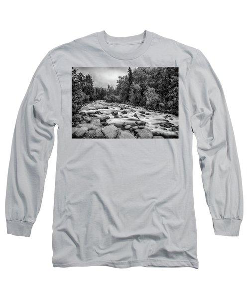 Alaskan Stream In Black And White Long Sleeve T-Shirt
