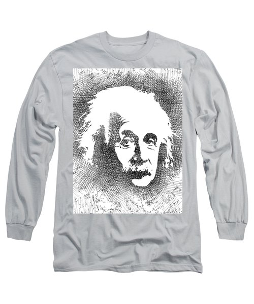 Albert Einstein Bw  Long Sleeve T-Shirt by Mihaela Pater