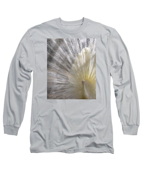 Pure White Peacock Long Sleeve T-Shirt