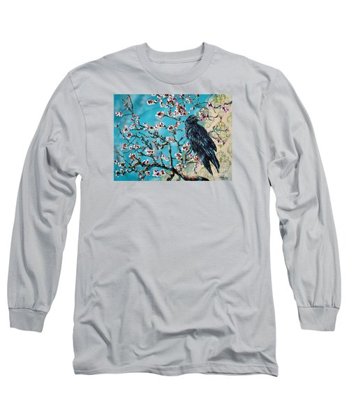 Almond Branch And Raven Long Sleeve T-Shirt