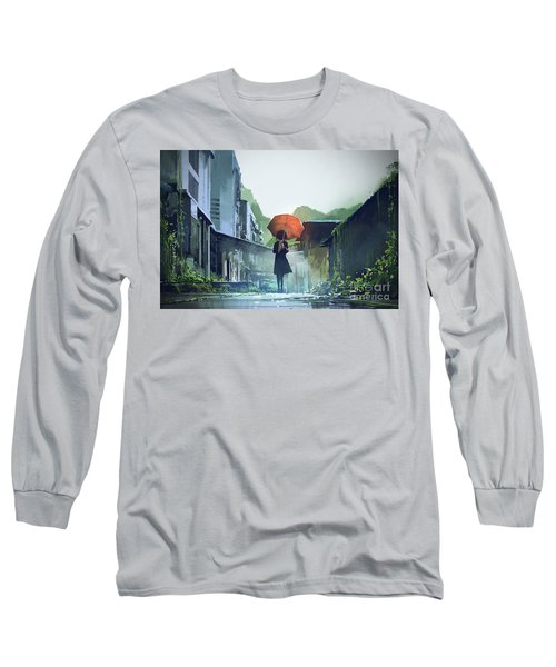 Long Sleeve T-Shirt featuring the painting Alone In The Abandoned Town by Tithi Luadthong