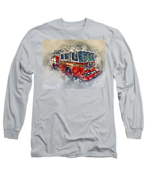 American Fire Truck Long Sleeve T-Shirt