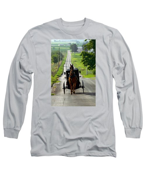 Amish Morning Commute Long Sleeve T-Shirt by Lawrence Boothby