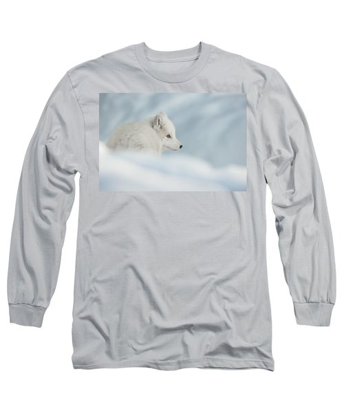 An Arctic Fox In Snow. Long Sleeve T-Shirt