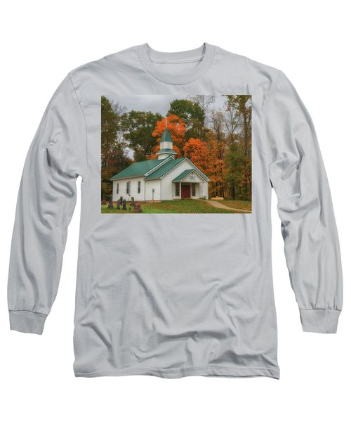 An Old Ohio Country Church In Fall Long Sleeve T-Shirt