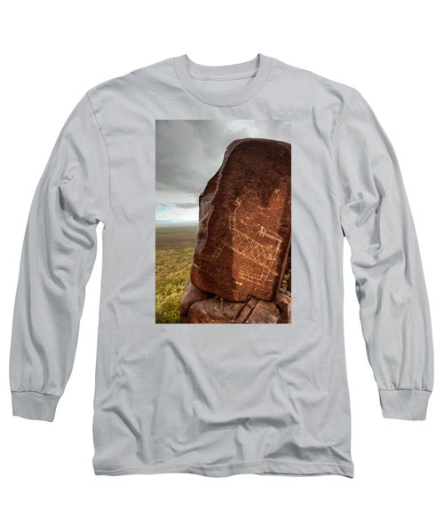 Ancient Petroglyph At Three Rivers Petroglyph Site Long Sleeve T-Shirt