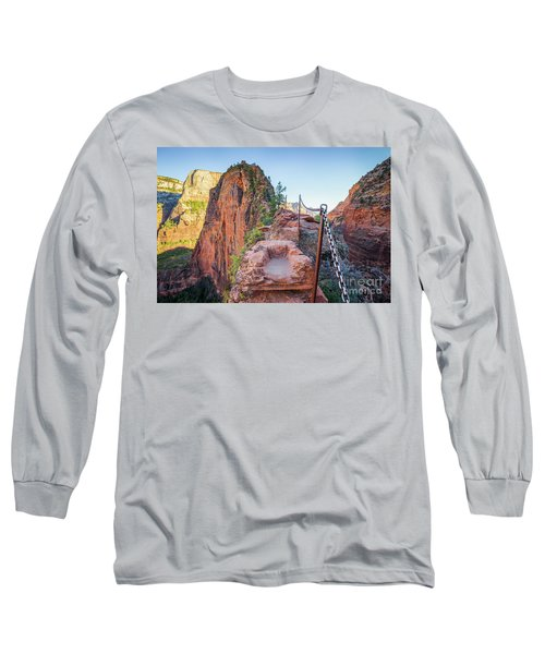 Angels Landing Hiking Trail Long Sleeve T-Shirt by JR Photography