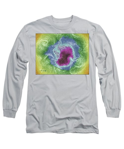 Antarctica Abstract Long Sleeve T-Shirt by Geraldine Alexander