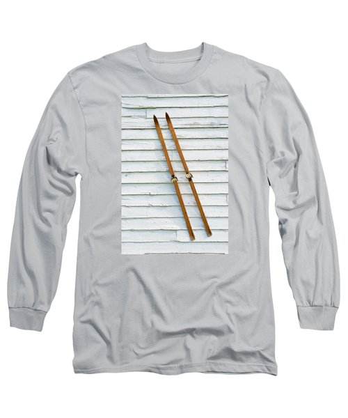 Long Sleeve T-Shirt featuring the photograph Antique Skis On The Wall by Gary Slawsky
