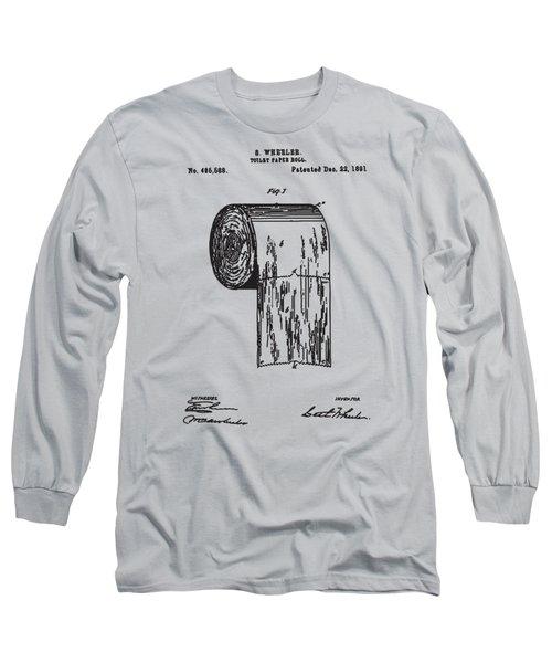Antique Toilet Paper Roll Blueprint Patent Illustration Long Sleeve T-Shirt