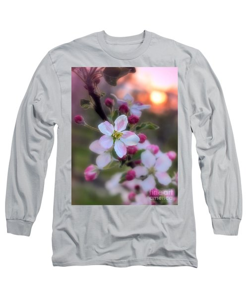 Long Sleeve T-Shirt featuring the photograph Apple Blossom Sunrise by Henry Kowalski