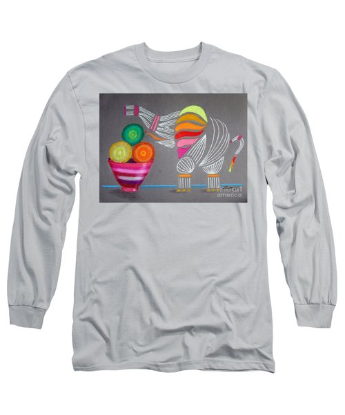 Apples And Oranges And Elephants, Oh My -- Whimsical Still Life W/ Elephant Long Sleeve T-Shirt