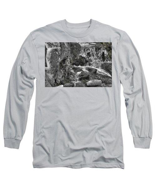 Arboretum Waterfall Bw Long Sleeve T-Shirt by Richard J Cassato