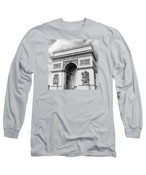 Arch Of Triumph - Paris - Black And White Long Sleeve T-Shirt